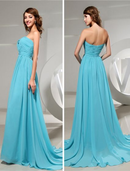 2015 Empire Sweetheart Ruffle Sweep Train Chiffon Evening Dress