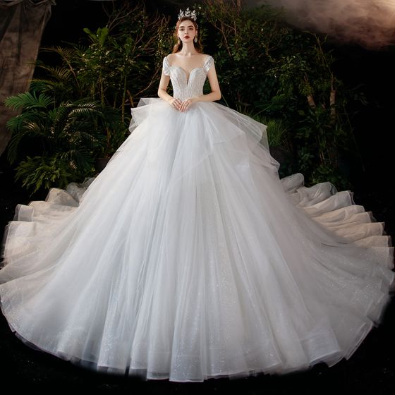 Romantic White Bridal Wedding Dresses 2020 Ball Gown See-through Scoop Neck Short Sleeve Backless Beading Glitter Tulle Cathedral Train Ruffle