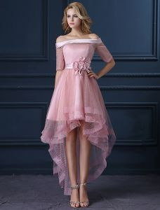 Nieuwe Mode Parel Roze Cocktailjurken Tule Vierkante Hals Feestjurk Met Bloem