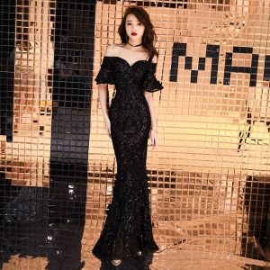 Affordable Black Evening Dresses  2019 Trumpet / Mermaid Off-The-Shoulder Short Sleeve Sequins Floor-Length / Long Ruffle Backless Formal Dresses