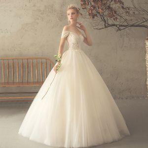 Elegant Champagne Wedding Dresses 2018 Ball Gown Lace Flower Off-The-Shoulder Backless Short Sleeve Floor-Length / Long Wedding