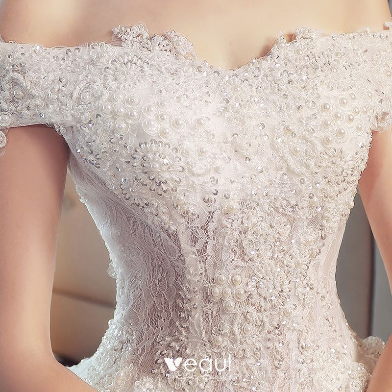 Classy Ivory Lace Wedding Dresses 2019 A-Line / Princess Off-The-Shoulder Short Sleeve Backless Pearl Sequins Beading Cathedral Train Ruffle