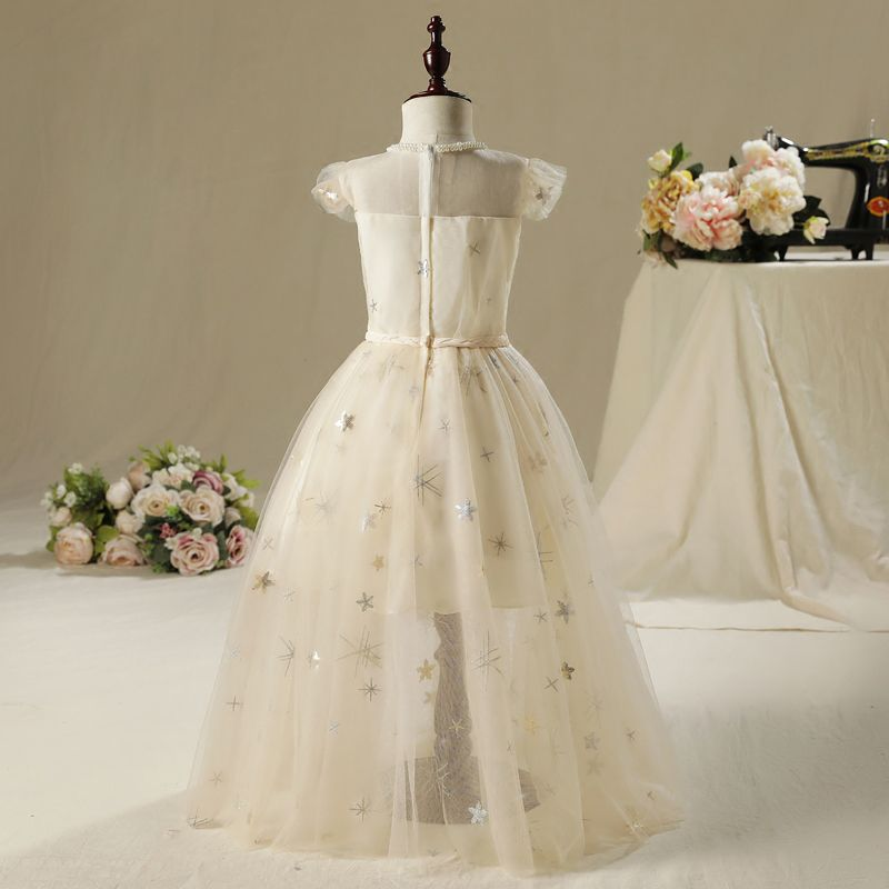 Chic / Beautiful Church Wedding Party Dresses 2017 Flower Girl Dresses Champagne Floor-Length / Long A-Line / Princess Pearl Scoop Neck Sleeveless Braid Sash Sequins Appliques