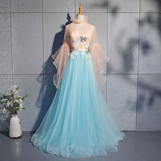 Amazing / Unique Pool Blue Evening Dresses  2019 A-Line / Princess Lace Pearl Sequins High Neck Long Sleeve Backless Floor-Length / Long Formal Dresses