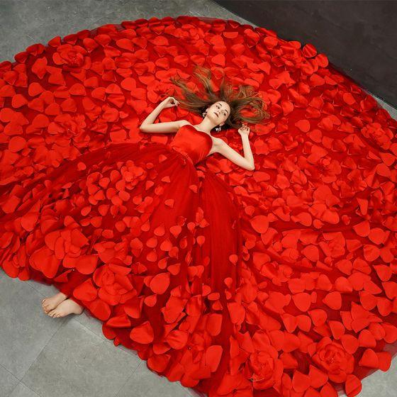 Fabuloso Rojo Vestidos De Novia 2019 A-Line / Princess Sweetheart Sin Mangas Sin Espalda Apliques Flor Bowknot Cinturón Royal Train Ruffle