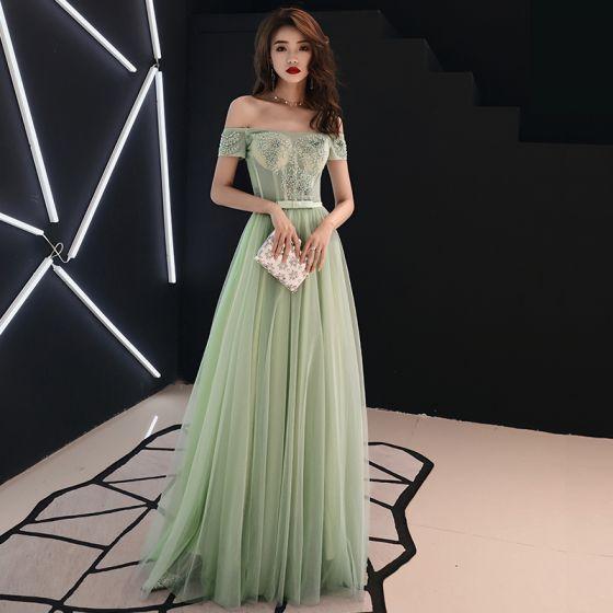 Elegantes Verde Salvia Vestidos de gala 2019 A-Line / Princess Fuera Del Hombro Con Encaje Flor Apliques Rebordear Rhinestone Bowknot Manga Corta Largos Vestidos Formales