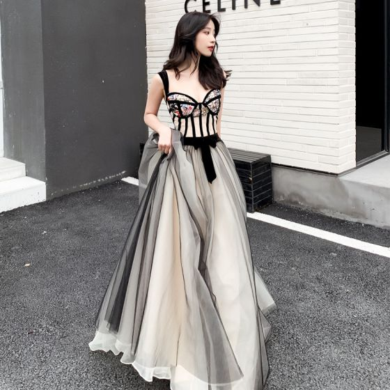 Modern / Fashion Black Champagne Prom Dresses 2019 A-Line / Princess Shoulders Sleeveless Sequins Embroidered Flower Floor-Length / Long Ruffle Backless Formal Dresses