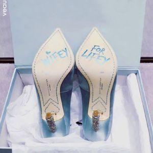 Elegant Sky Blue Prom Womens Shoes 2018 Leather 10 cm Rhinestone Stiletto Heels Pointed Toe Pumps