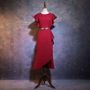 Chic / Beautiful Burgundy Evening Dresses  2019 Trumpet / Mermaid Scoop Neck Short Sleeve Metal Rhinestone Sash Short Ruffle Formal Dresses