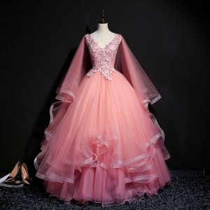 Elegant Candy Pink Prom Dresses 2018 Ball Gown V-Neck Sleeveless Appliques Lace Pearl Sequins Floor-Length / Long Cascading Ruffles Backless Formal Dresses
