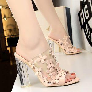 Mode Betaalbare Nude Straatkleding Sandalen Dames 2020 Bloem 9 cm Dikke Hak Peep Toe Sandalen