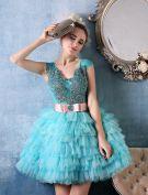 Glitter Empire Paillettes V-cou Appliques De Dentelle Ouvrant Piscine Courte En Tulle Bleu Robe De Cocktail