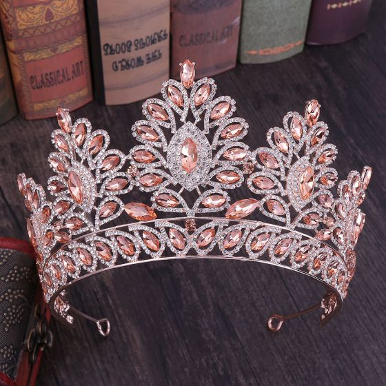 Stunning Rose Gold Rhinestone Tiara Bridal Hair Accessories 2020 Alloy Wedding Accessories