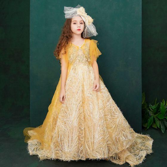 Piękne Żółta Urodziny Sukienki Dla Dziewczynek Z Szalem 2020 Suknia Balowa Wycięciem Bez Rękawów Bez Pleców Aplikacje Z Koronki Cekiny Rhinestone Trenem Sweep Wzburzyć