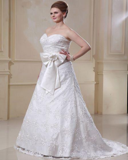 Designer A-Line Sweetheart Satin Lace Plus Size Wedding Dress