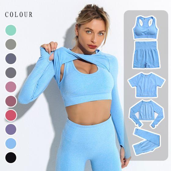 Solid Color Sky Blue Tight  Yoga & Sport Set Scoop Neck Long Sleeve Bodycon Leggings 2021