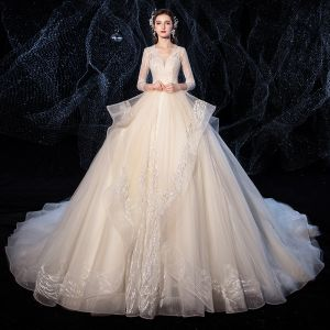 Charming Champagne Wedding Dresses 2020 Ball Gown V-Neck Glitter Beading Sequins Rhinestone 3/4 Sleeve Backless Royal Train