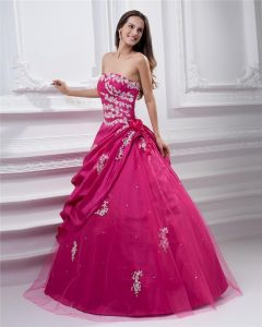 Ball Gown Sweetheart Applique Ruffle Floor Length Taffeta Quinceanera Prom Dress