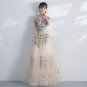 Amazing / Unique Prom Dresses 2017 Champagne A-Line / Princess Floor-Length / Long Scoop Neck Sleeveless Backless Appliques Flower Formal Dresses