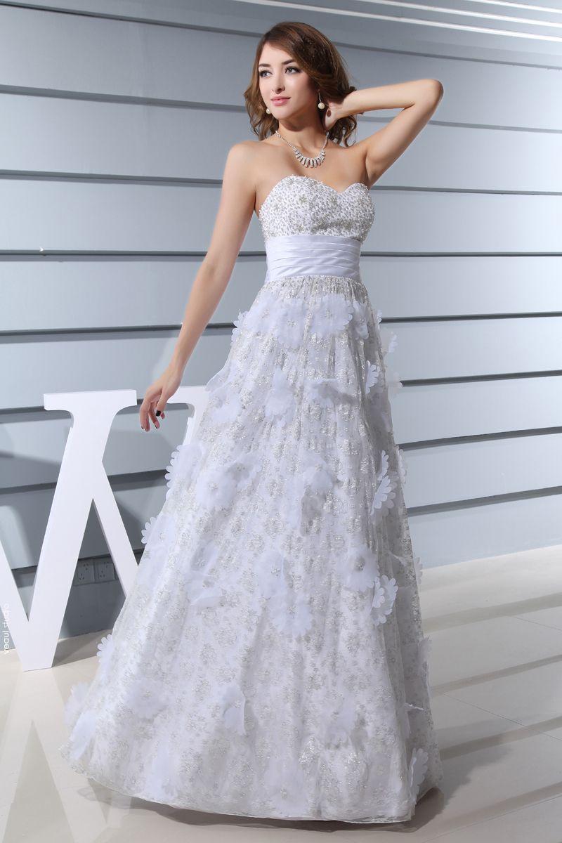 Sweetheart Sleeveless Backless Applique Beading Floor Length Lace Satin Silk Woman Empire Wedding Dress