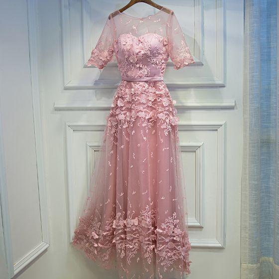 Śliczny Cukierki Różowy Sukienki Wizytowe 2017 Koronkowe Kwiat Wiązane Wycięciem 1/2 Rękawy Długość Herbaty Princessa Sukienki Na Bal