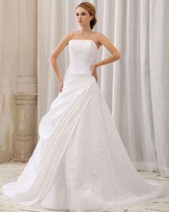 Elegant Fast Rufsar Applikationer En Line Axelbandslos Dragkedja Bak Domstolen Tag Taft Brudklänningar Bröllopsklänningar