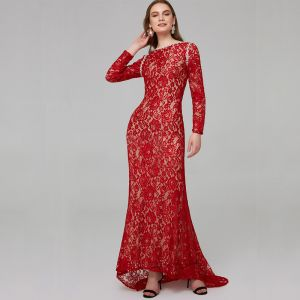 Chic / Beautiful Red Mother Of The Bride Dresses 2020 Trumpet / Mermaid Long Sleeve U-Neck Beading Embroidered Rhinestone Sweep Train Wedding Evening Party Wedding Party Dresses