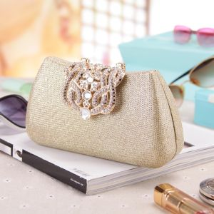 Modest / Simple Gold Rhinestone Clutch Bags 2018