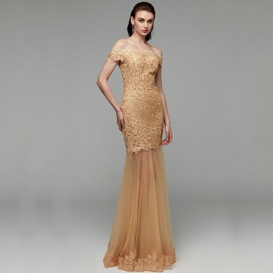 Modern / Fashion Gold Evening Dresses  2020 Trumpet / Mermaid Off-The-Shoulder Floor-Length / Long Embroidered Appliques Backless Beading Sequins Evening Party Formal Dresses