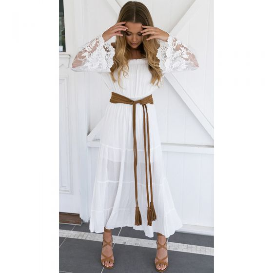 Bohemia White Summer Maxi Dresses A-Line / Princess 2018 Lace Off-The-Shoulder Long Sleeve Tea-length Women's Clothing
