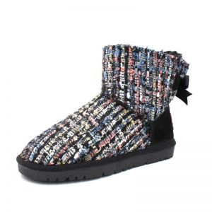 Modern / Fashion Snow Boots 2017 Black Woolen Ankle Braid Bow Casual Winter Flat Womens Boots
