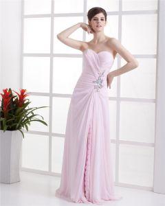 Vacker A-linje Sweetheart Chiffong Golv Langd Armlos Festklänningar