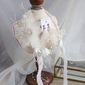Vintage Białe Biżuteria Ślubna 2020 Kwiat Jedwabiu Perła Kolczyki Opaski na głowę Ślub Akcesoria