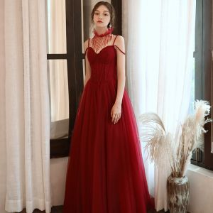 Chic / Beautiful Red Evening Dresses  2020 A-Line / Princess Spaghetti Straps Sleeveless Beading Glitter Tulle Floor-Length / Long Ruffle Backless Formal Dresses