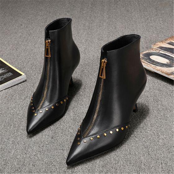 Mode Schwarz Strassenmode Leder Stiefel Damen 2020 Niet 6 cm Stilettos Spitzschuh Stiefel