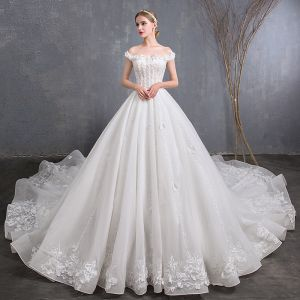 Best Ivory Wedding Dresses 2019 A-Line / Princess Off-The-Shoulder Short Sleeve Backless Appliques Lace Beading Cathedral Train