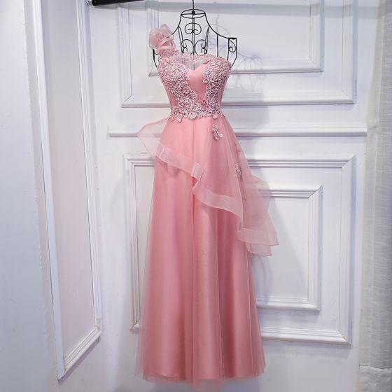 Encantador Perla Rosada Vestidos para bodas 2017 Con Encaje Lentejuelas Flor Un Hombro Sin Mangas La altura del tobillo Empire Vestidos De Damas De Honor