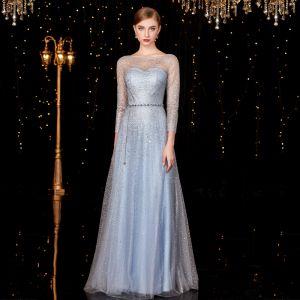 Sparkly Sky Blue Evening Dresses  2020 A-Line / Princess Sash Sequins Scoop Neck 3/4 Sleeve Floor-Length / Long Formal Dresses