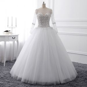 Luxury / Gorgeous White Crystal Wedding Dresses 2017 Scoop Neck Long Sleeve Beading Rhinestone Pearl Sequins Floor-Length / Long Ball Gown