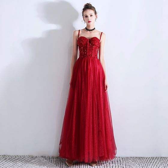 Chic / Beautiful Burgundy Evening Dresses  2019 A-Line / Princess Spaghetti Straps Beading Crystal Sequins Sleeveless Backless Floor-Length / Long Formal Dresses