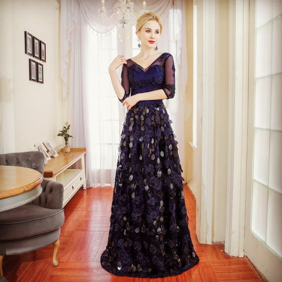 Chic / Beautiful Navy Blue Evening Dresses  2017 A-Line / Princess Beading Sequins V-Neck Backless 1/2 Sleeves Floor-Length / Long Formal Dresses