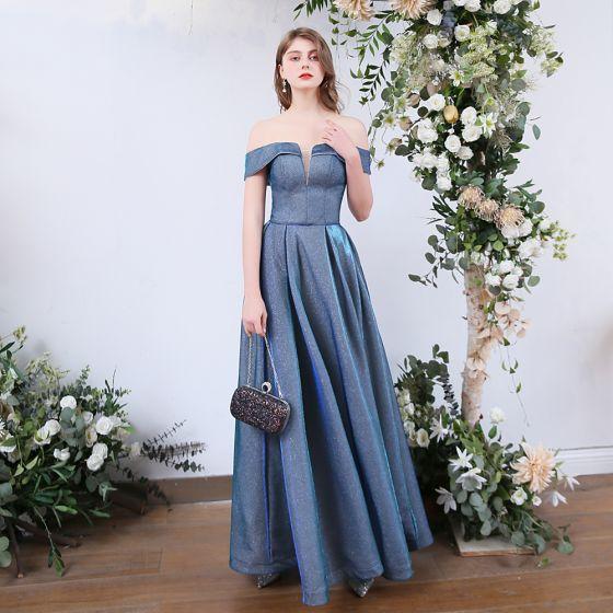 Affordable Ocean Blue Dancing Prom Dresses 2020 A-Line / Princess Off-The-Shoulder Short Sleeve Glitter Polyester Floor-Length / Long Ruffle Backless Formal Dresses