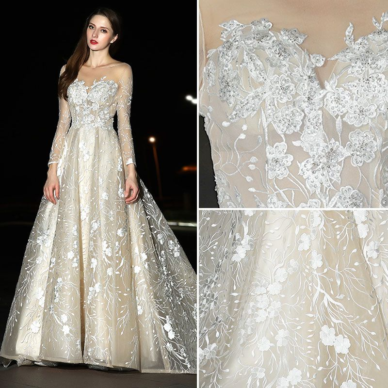 Modern / Fashion Champagne Wedding Dresses 2017 A-Line / Princess Square Neckline Long Sleeve Appliques Lace Sweep Train