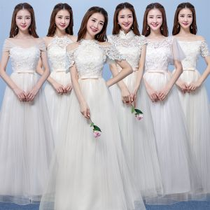 Affordable Champagne Pierced Bridesmaid Dresses 2018 A-Line / Princess Appliques Flower Bow Sash Floor-Length / Long Ruffle Backless Wedding Party Dresses