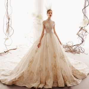 Luxury / Gorgeous Vintage / Retro Champagne See-through Wedding Dresses 2019 Ball Gown High Neck Cap Sleeves Handmade  Beading Glitter Tulle Appliques Lace Royal Train