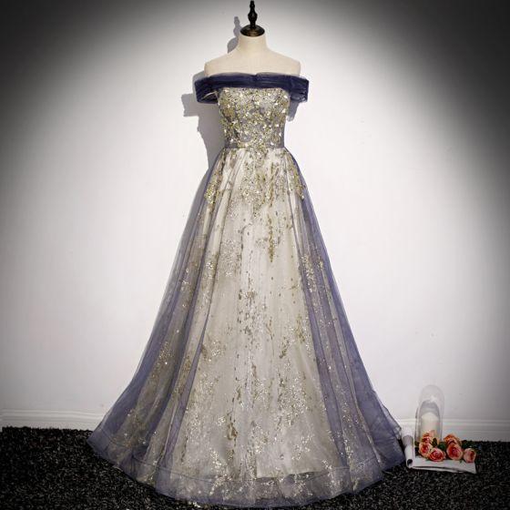 Moda Fioletowe Złote Cekinami Sukienki Wieczorowe 2020 Princessa Przy Ramieniu Frezowanie Rhinestone Perła Cekiny Bez Rękawów Bez Pleców Długie Sukienki Wizytowe