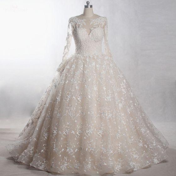 Classy Luxury / Gorgeous Ivory Cathedral Train Wedding 2018 Long Sleeve U-Neck Tulle Lace-up Appliques Backless Beading Pearl Handmade  Ball Gown Wedding Dresses