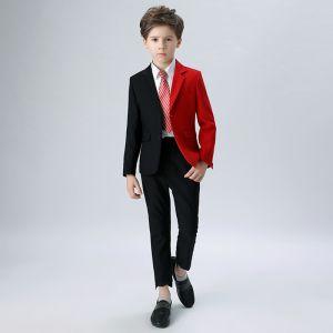 Unique Rayé Cravate Noire Rouge Boys Wedding Suits 2018