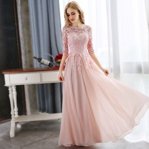 Affordable Pearl Pink Evening Dresses  2018 A-Line / Princess Lace Appliques Crystal Scoop Neck 3/4 Sleeve Floor-Length / Long Formal Dresses