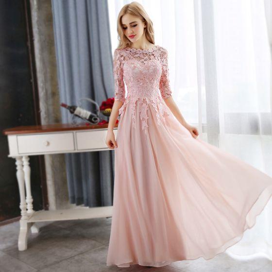 Affordable Pearl Pink Evening Dresses  2018 A-Line / Princess Lace Appliques Crystal Scoop Neck 3/4 Sleeve Floor-Length / Long Formal Dresses